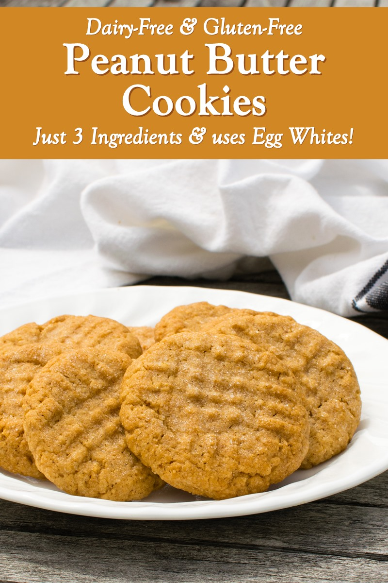 3-Ingredient Peanut Butter Cookies Recipe made with Egg Whites! Naturally dairy-free, gluten-free, grain-free, soy-free, and butterless. Includes egg-free and vegan option, plus other variations.