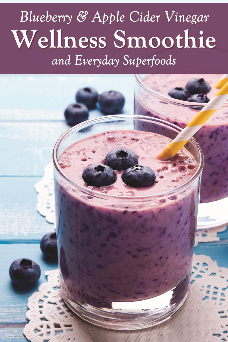 Blueberry Wellness Smoothie with Apple Cider Vinegar and Everyday Superfoods Recipe - dairy-free, plant-based, paleo, and optionally allergy-friendly