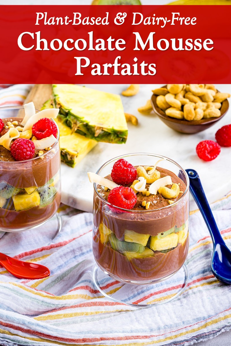 Plant-Based Chocolate Mousse Parfaits for Dessert or Breakfast - Easy, healthy, gluten-free, paleo-friendly recipe with vegan and nut-free options.