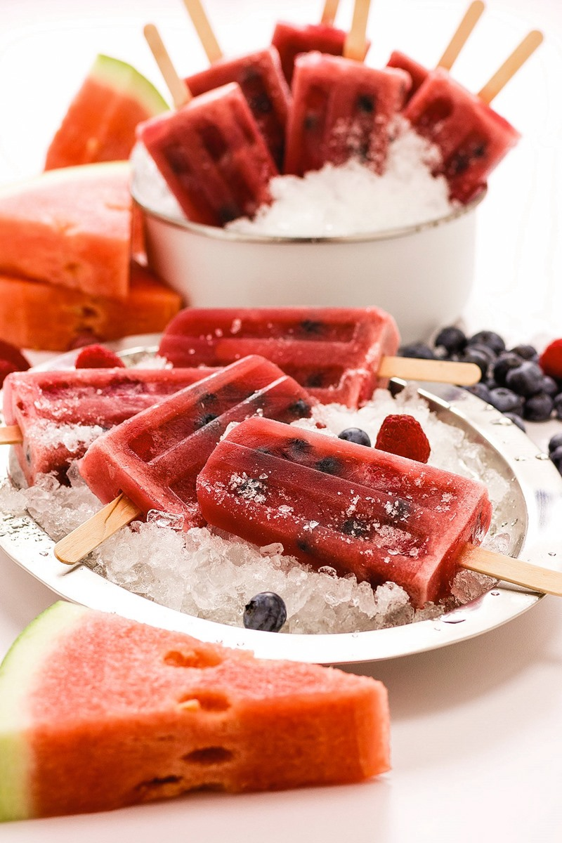 Berry Watermelon Pops Recipe - naturally dairy-free, gluten-free, grain-free, allergy-friendly, plant-based, and paleo! Vegan option included.