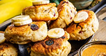 Plant-Based Stovetop Scones Recipe - healthy, dairy-free bannocks or scones for breakfast or teatime. Vegan (skip the honey drizzle) with banana-free and nut-free options