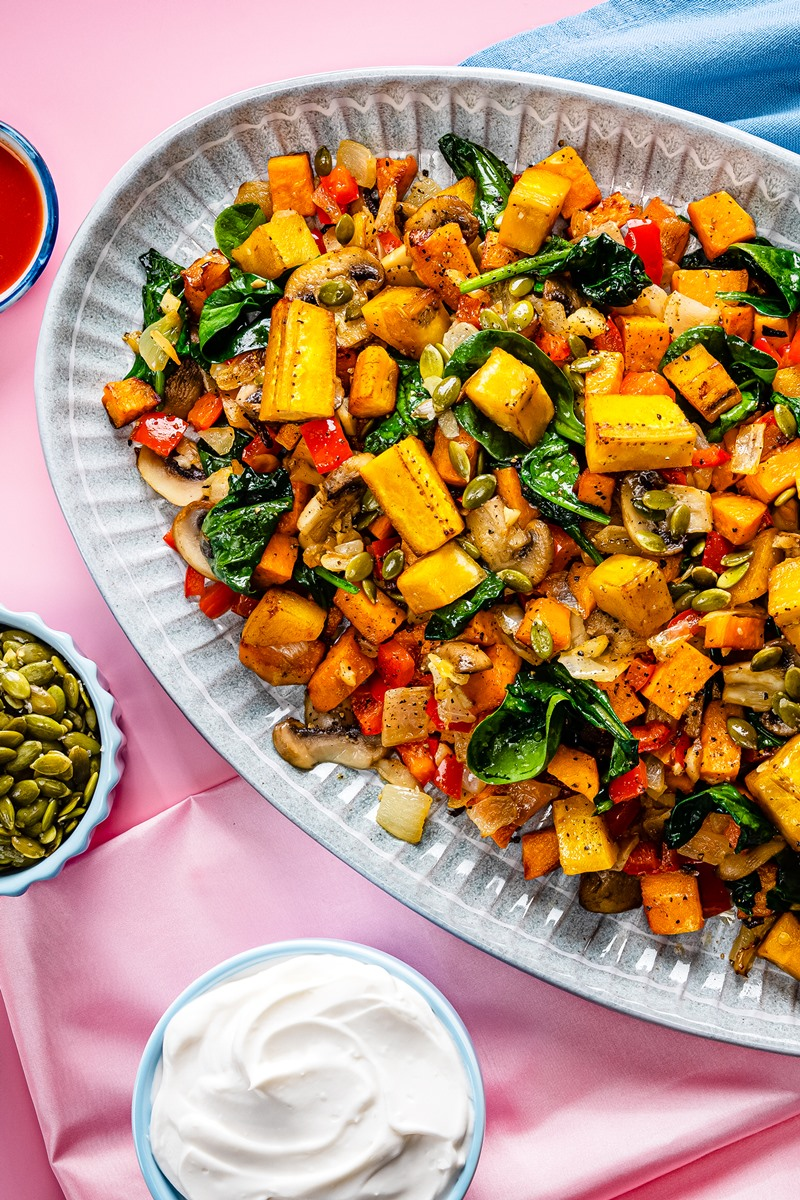 Plant-Based Breakfast Hash Recipe with Sweet Potato, Plantain, and Spinach (dairy-free, gluten-free, vegan)