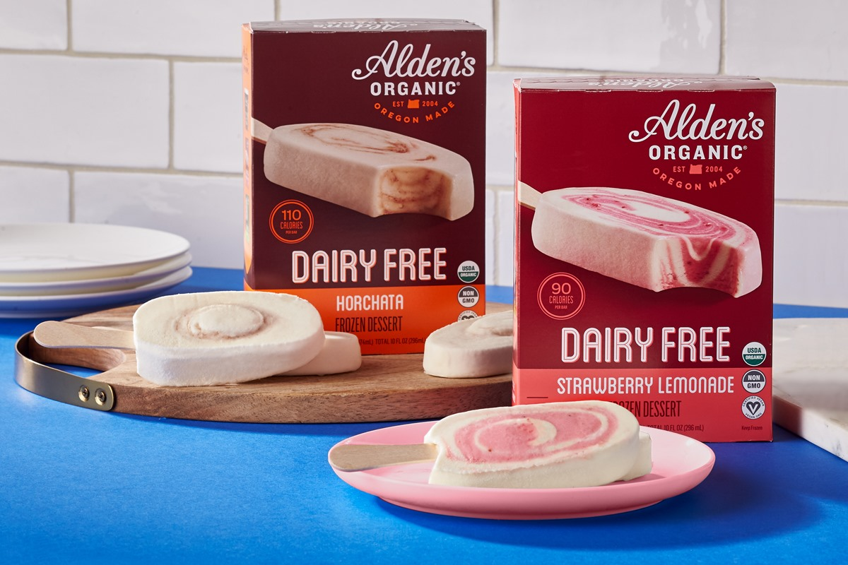 Alden's Dairy-Free Ice Cream Bars Reviews and Info - Certified Organic and Vegan - summer beverage inspired flavors: Horchata and Strawberry Lemonade