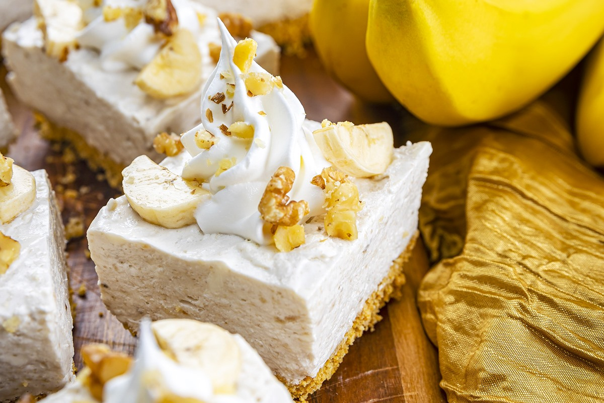 No Bake Dairy-Free Banana Cheesecake Bars Recipe - Vegan, Gluten-Free, Nut-Free, and Soy-Free Options