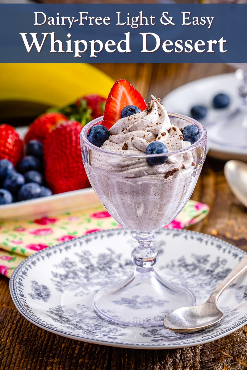 Dairy-Free Whipped Dessert Recipe with chocolate graham crackers, banana, and fresh berries. Vegan, gluten-free, allergy-friendly, light, fast, and easy.