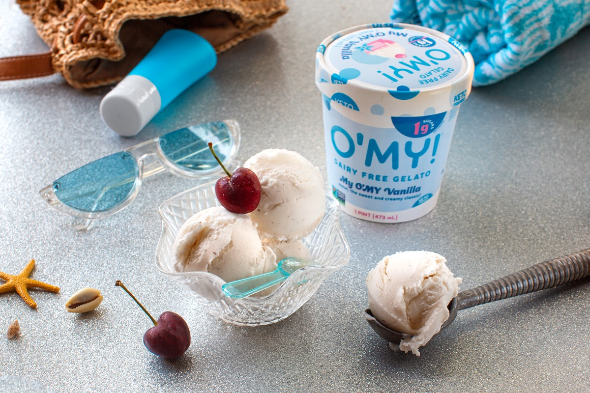 Keto-Friendly O'MY Dairy-Free Gelato in Vanilla - plant-based ice cream with just 1 gram of sugar (TOTAL!) per serving!