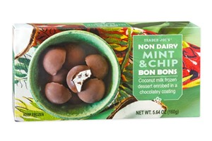 Trader Joe's Vegan Bon Bons Reviews and Info - Dairy-Free Cookies and Creme Ice Cream enrobed in dark chocolate. Plus a seasonal flavor! Ingredients and reviews here ...