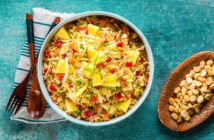 Hawaiian Cauliflower Fried Rice Recipe - plant-based, dairy-free, gluten-free, soy-free, grain-free, paleo, and optionally nut-free. Healthy, rich with produce, and easy!
