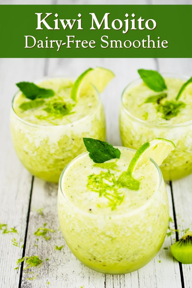Kiwi Mojito Smoothie Recipe - Dairy-Free, Plant-Based, All-Fruit - no dairy alternatives needed! Allergy-friendly, no sweetener added.
