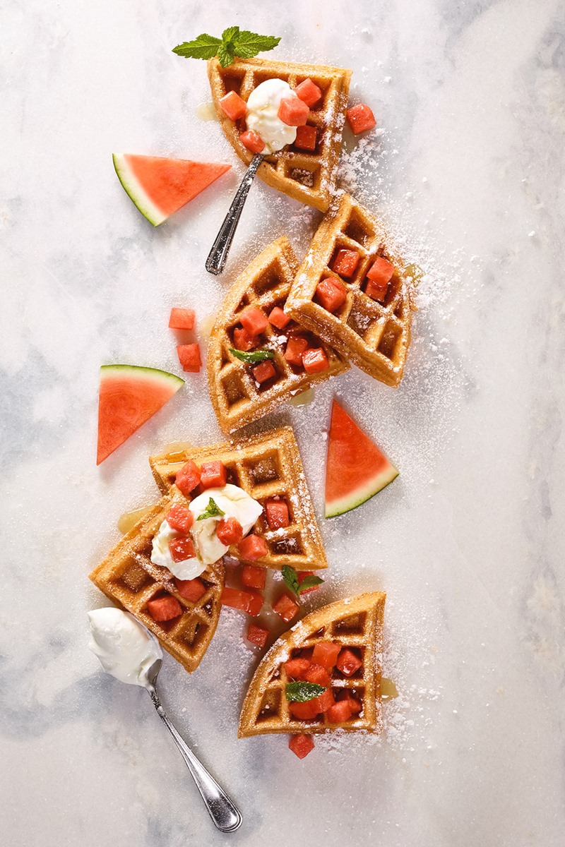 Watermelon Waffles Recipe - Fluffy, Fruit-Sweetened, Naturally Dairy-Free, Soy-Free and Nut-Free. Includes egg-free, gluten-free, and vegan options.
