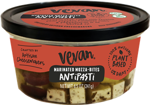 Vevan Marinated Mozza-Bites Reviews and Info - dairy-free, gluten-free, vegan marinated mozzarella bites with olive oil, herbs, and spices