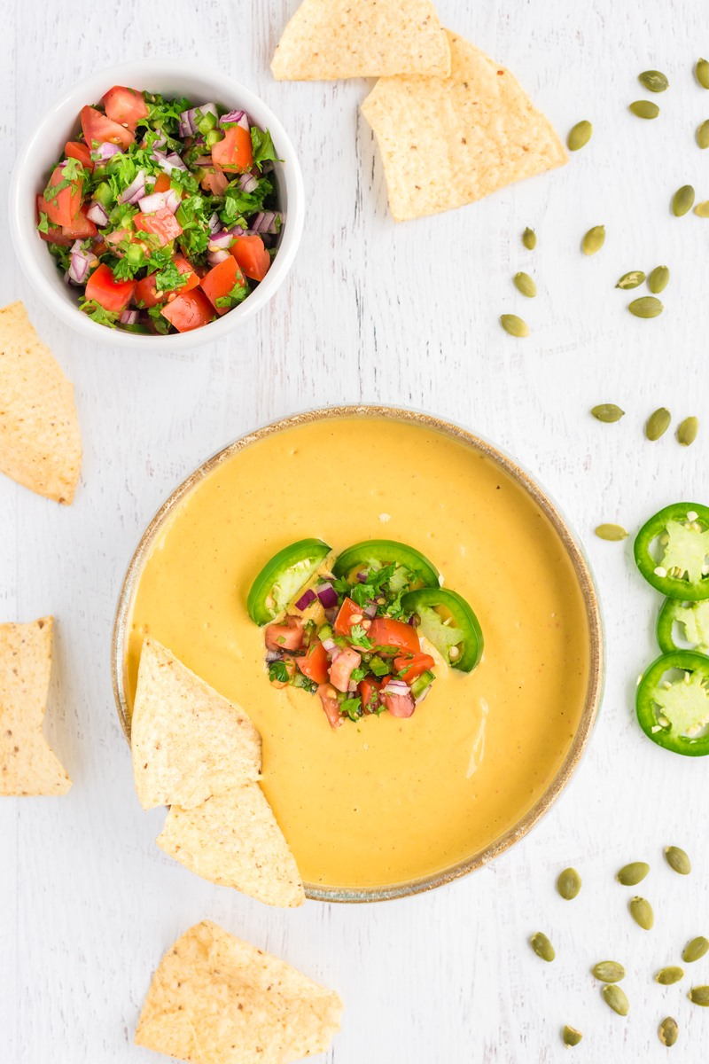 Dairy-Free Queso Recipe that's Kindly Allergy-Friendly and Truly Plant-Based - nut-free, soy-free, gluten-free, grain-free, sesame-free, vegan, and even oil-free. From Dreena's Kind Kitchen Cookbook