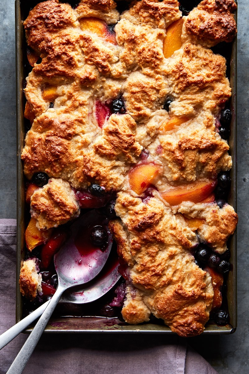 """Vegan Blueberry Peach Cobbler Recipe from Eating Vegan by Dianne Wenz - the recipe is dairy-free, egg-free, nut-free, soy-free, and completely """"butterless!"""""""