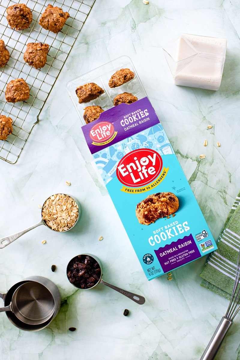 Enjoy Life Soft Baked Cookies Get a New Look, Recipe, and Flavor: Oatmeal Raisin! All varieties are Gluten-Free, Top Allergen-Free, and Made in a Dedicated Allergy-Friendly Facility with no nuts, dairy, eggs, soy, and more. Also vegan-friendly, certified gluten-free, certified kosher pareve, and non-GMO verified.