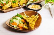 Thai Chicken Satay with Creamy Peanut Sauce & Cucumber Salad - Recipe includes gluten-free, nut-free, peanut-free, and soy-free options. Naturally dairy-free.