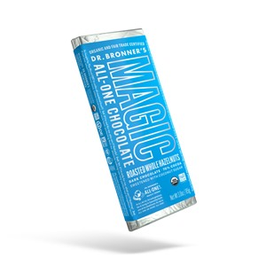 Dr. Bronner's Magic All-One Chocolate Reviews and Info. Organic, fair trade, vegan, paleo, and sweetened with coconut sugar.