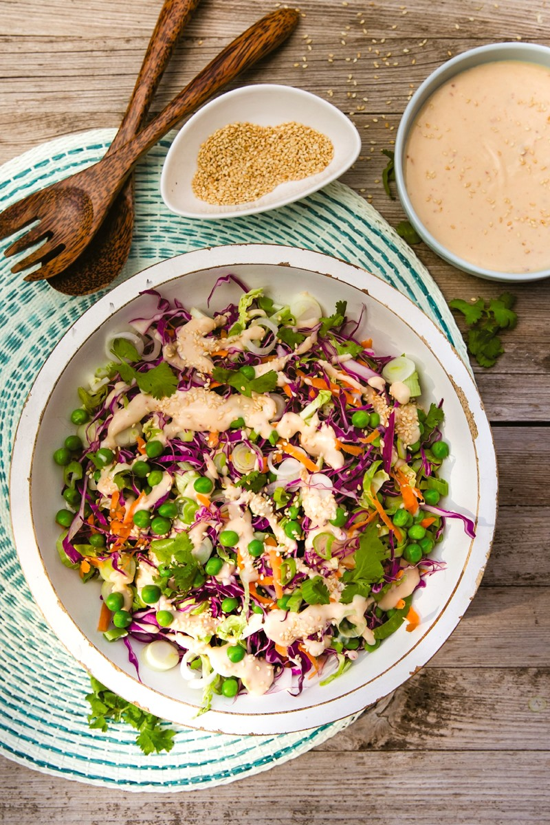Creamy Vegan Brussels Sprout Slaw Recipe for a BBQ Side or Healthy Lunch - dairy-free, egg-free, gluten-free, nut-free, and soy-free