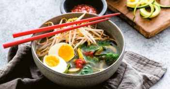 Zoodle Ramen Bowls Recipe - Healthy Zucchini Recipe that's loaded with Plants! Superfood, Low-Carb, Atkins Soup that's Dairy-Free and Gluten-Free. Plant-Based, Vegan, and Allergy-Friendly Options