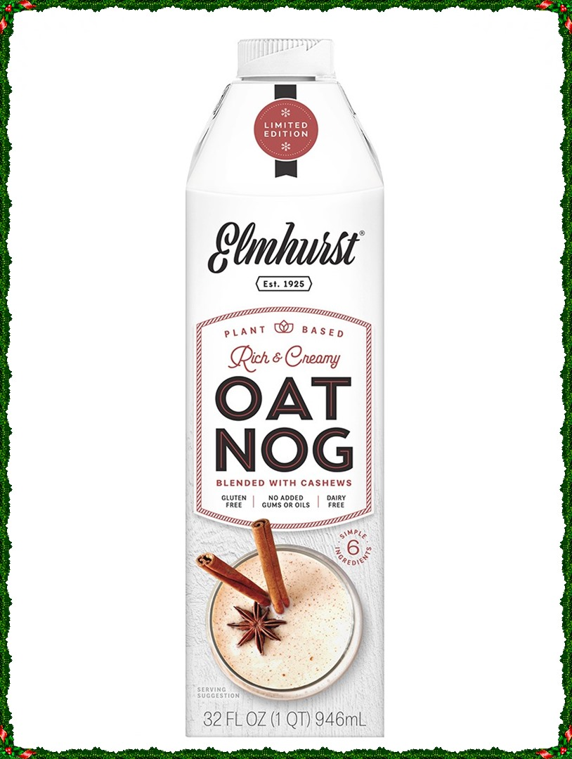 Elmhurst Oat Nog Reviews & Info (Vegan & Gluten-Free) - This plant-based, dairy-free, egg-free nog is also made without gums, carrageenan, and oils. It's a clean formula with a blend of purity protocol oats and cashews.
