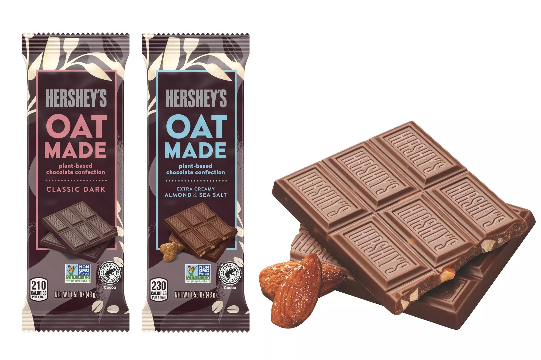 Hershey's Oat Made Chocolate Bars Reviews and Info - dairy-free, vegan, plant-based oat milk and dark chocolate