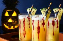 """This Bloody Good Pineapple Punch is a Bubbling Brew for All Ages - Great Allergy-Friendly, Kid-Friendly, Plant-Based Halloween Drink. Sparkling Fresh Pineapple Ginger with Cranberry """"Blood"""""""