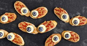 Spooky Eyes Toast Recipe for Halloween - Easy, Simple, Fast, Cheap, Kid-Friendly! Can be made dairy-free, gluten-free, soy-free, nut-free, and vegan.
